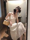 吊帶裙春裝2019款很仙的白色百褶吊帶連身裙仙女高腰荷葉邊過膝中長裙子 潮人女鞋