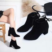 新款高跟鞋女秋冬百搭尖頭靴子中跟粗跟短靴女韓版馬丁靴春夏