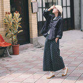 Queen Shop【04011435】鬆緊設計點點印花牛仔寬褲*現+預*