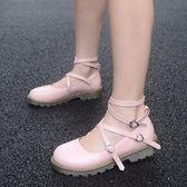 娃娃鞋夏女日繫軟妹綁帶鞋子平底圓頭學生公主單鞋 愛麗絲精品