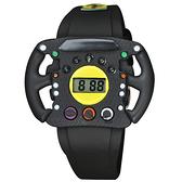 【萬年鐘錶】 法拉利 Ferrari  義大利  F1賽車精神,方向盤造型 數位液晶電子錶  0810013