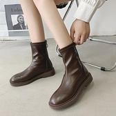 ins網紅瘦瘦馬丁靴女2021年秋冬加絨平底炸街中筒英倫短靴潮 3C數位百貨