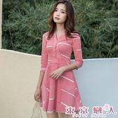 洋裝 韓版長袖V領襯衫A字條紋連身裙★東京戀人MS.Q★7573