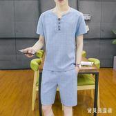 新款大尺碼男士棉麻套裝 韓版潮流格子上衣 時尚休閒帥氣短袖褲裝 CJ4096『寶貝兒童裝』