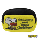 【日本進口正版】史努比 Snoopy 查理布朗款 棉質 長型 收納包 零錢包 PEANUTS - 293275
