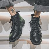 @港仔文藝男 夏季工裝鞋男戶外復古沙漠黑色靴子皮軍靴高筒馬丁靴 全館免運折上折