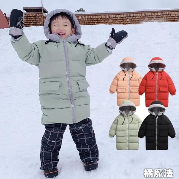 拚色連帽長版羽絨厚外套 中性款 長外套 橘魔法 兒童羽絨外套 現貨 童裝 男女童 中性款 下雪雪衣