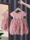 女童洋裝 女童寶寶連衣裙公主紗裙洋氣拼接蛋糕公主裙2021夏裝新款童裝夏裝 歐歐