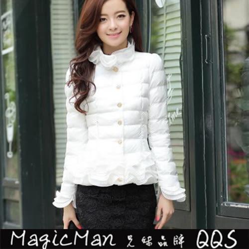 【現貨】外套 荷葉邊羽絨外套短款 (白色/M)FAS0189★ MagicMan ★