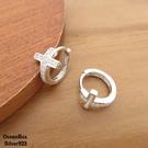 §海洋盒子§閃爍亮眼十字架鑲嵌鋯石易扣925純銀針式耳環 (外鍍專櫃級正白K.圈圈耳環)