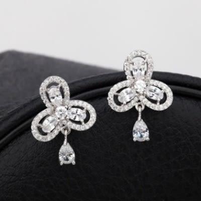 耳環 純銀鍍白金 鑲鑽-閃耀迷人生日情人節禮物女飾品4色73cr136[時尚巴黎]