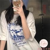 夏季純棉短袖上衣女復古印花百搭寬松短袖T恤女【大碼百分百】