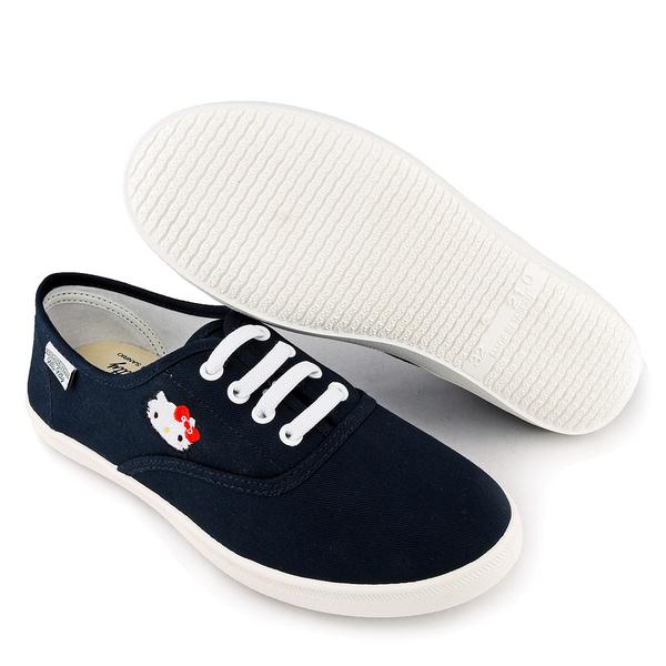 童鞋城堡-櫻桃小丸子 X KITTY聯名 女款 簡約設計休閒鞋-HK8703 藍/白(共兩色)