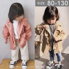 韓版男女童風衣外套。ROUROU童裝。春秋男女童中小童字母中長版風衣外套 0333-177