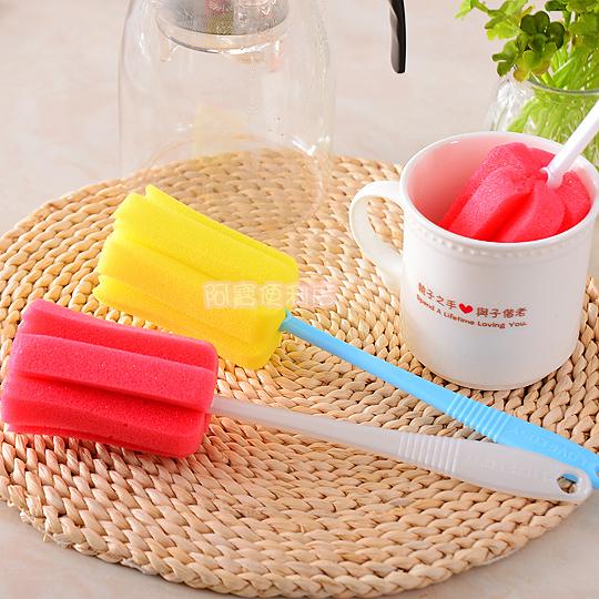 創意 海綿 杯刷 洗杯子 清潔刷 奶瓶刷 加長 保溫杯 水壺 冰桶 冷水壺 保溫瓶 隨機 6010
