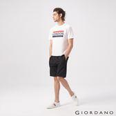 【GIORDANO】男裝素色休閒針織短褲-02 標誌黑