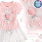 韓國童裝~雪紡花蕾絲層次小洋裝長版上衣(250664)★水娃娃時尚童裝★