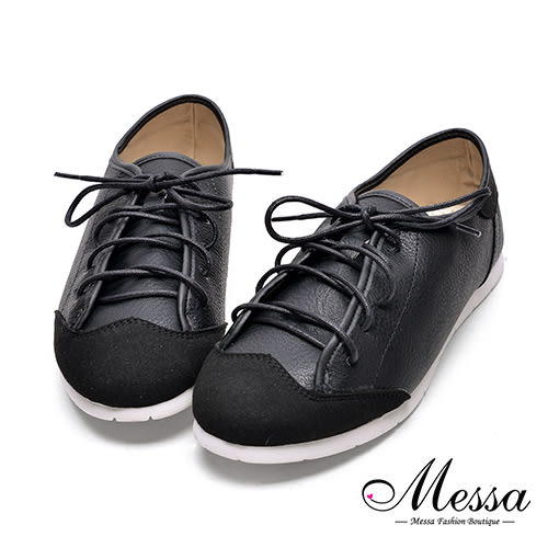 【Messa米莎專櫃女鞋】MIT異材質拼接保齡球風休閒鞋-黑色