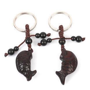 雷擊棗木魚鑰匙扣 招財 辟邪保平安 掛件飾品