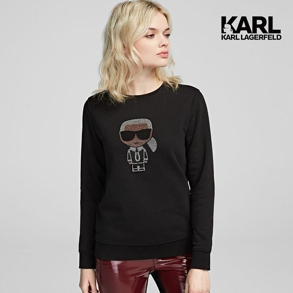 【KARL LAGERFELD】IKONIK 亮鑽運動衫-黑