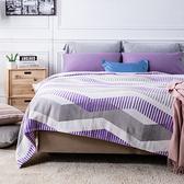 HOLA 柯林斯緻柔印花法蘭絨毯 單 紫灰色款