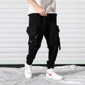 工裝褲男秋褲學生黑色秋季9九分長褲褲子嘻哈ins潮牌黑色束腳褲 【快速出貨】