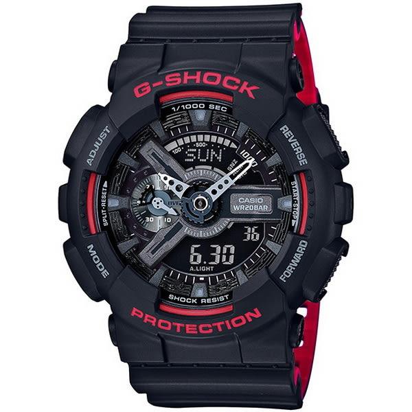 【台南 時代鐘錶 CASIO】卡西歐 G-SHOCK 宏崑公司貨 GA-110HR-1A 絕對強悍機械美學雙顯運動錶