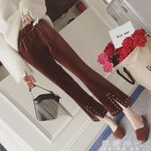 女裝冬季復古高腰鉚釘金絲絨休閒褲女寬鬆開叉九分微喇叭褲   歐韓時代