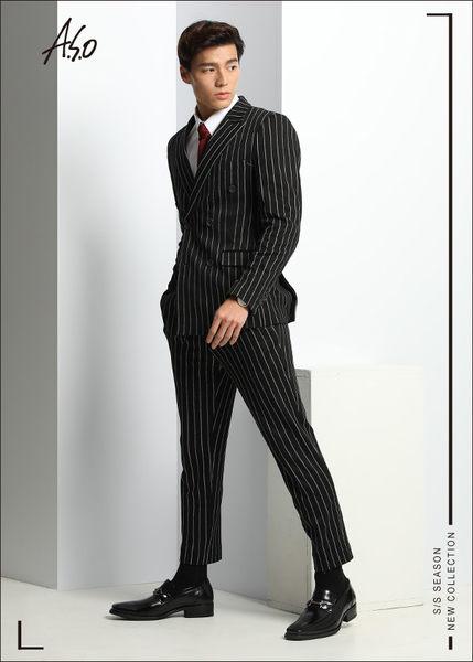 A.S.O 勁步雙核心 全真皮金屬飾扣直套式奈米紳士鞋  黑