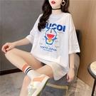 大學T寬鬆大碼短袖T恤卡通夏季珠片刺繡中長款潮牌短袖T恤女TBF12胖妞衣櫥