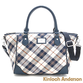 【Kinloch Anderson 金安德森】手提肩背包 懷特島旅行 經典格紋2Way-蔚海藍