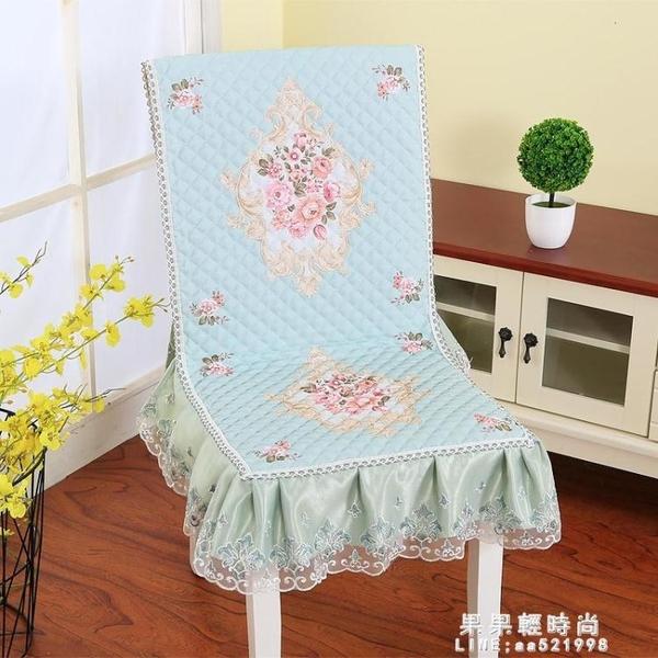 坐墊 椅子坐墊靠墊一體四季布藝薄夾棉連身餐椅墊田園防滑餐桌椅套椅墊【果果新品】
