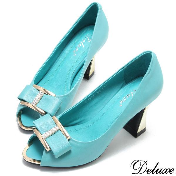【Deluxe】全真皮水晶金屬蝴蝶結魚口鞋(藍綠)