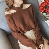 毛衣 掛脖露肩毛衣女套頭寬鬆秋冬裝新款韓版長袖針織衫氣質漏肩上衣潮