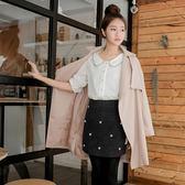OrangeBear《CA647》毛呢質感花朵珠珠點綴短包裙.2色--適 XL~4L