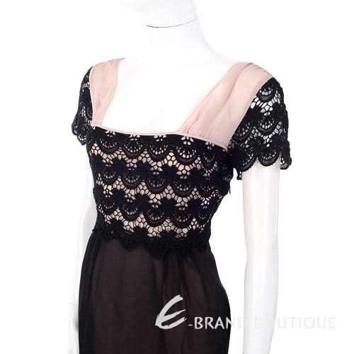 PHILOSOPHY 粉/黑色織花飾短袖洋裝 1230439-C8