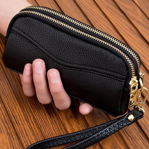 新款雙拉錬手拿包女式時尚小手包手機包零錢包簡約女包手抓包 至簡元素
