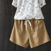 寬鬆鬆緊腰棉麻條紋休閒寬管熱褲短褲-設計家K1061