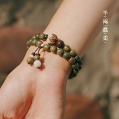半兩溫柔|沁春|復古綠檀木佛珠手串女情侶檀香森系手鏈學生民族風