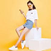 牛仔短裙女夏2018新款不規則韓版牛仔裙春款一步a字裙包臀半身裙 易貨居