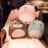 動物抱枕被子兩用靠枕汽車靠墊辦公室午睡枕頭珊瑚絨毯三合一暖手☌zakka
