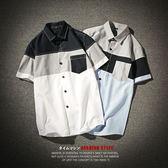 撞色短袖襯衫【TJ-CS49】(ROVOLETA)