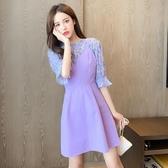 兩件式洋裝 韓系紫色雪紡衫+背帶連身裙 套裝 花漾小姐【預購】