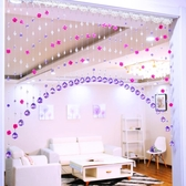玫瑰花結婚珠簾水晶門簾客廳隔斷簾玄關衛生間臥室弧形掛簾免打孔