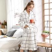 浴袍 睡袍女士秋冬季珊瑚絨睡衣可愛加厚加長款情侶浴衣性感法蘭絨浴袍   蘑菇街小屋