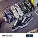 [Here Shoes]男鞋 情侶鞋 透氣綁帶 板鞋 休閒鞋 學生基本款 平底帆布鞋 3色─AA366