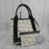 BRAND楓月 BALENCIAGA 巴黎世家 339933 滿版 LOGO 白底 中款 帆布包 手提包