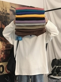 春秋季長袖t恤打底衫男生衣服潮牌潮流寬鬆內搭衛衣情侶百搭純色