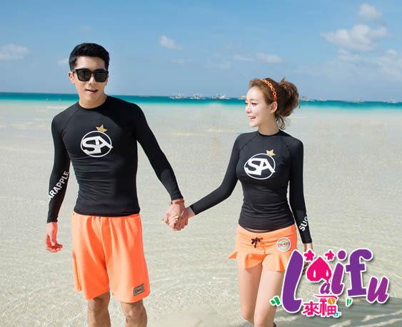 ★草魚妹★V152橙色情侶夏日好搭男生單賣沙灘褲一件680元
