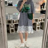 洋裝 條紋連身裙 288韓版寬松大碼中長款條紋短袖T恤女裙過膝連身裙N4F-C417 胖妞衣櫥